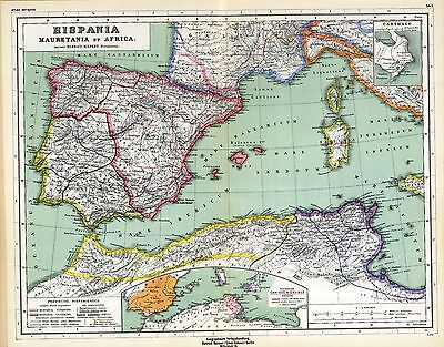 1903 old antique map ANCIENT WORLD North Africa SPAIN UNDER VARIOUS EMPIRES 10