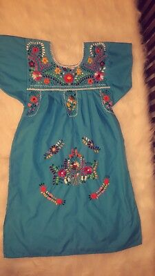 Mexican Hand Embroidered  Puebla Dress Size 6 Years Old Girl (pre-owned)