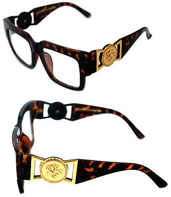 6445a284cab 424 Medusa Gold Metal Logo Coin Horn Rimmed Clear Lens Eye Glasses Hip Hop  Brown