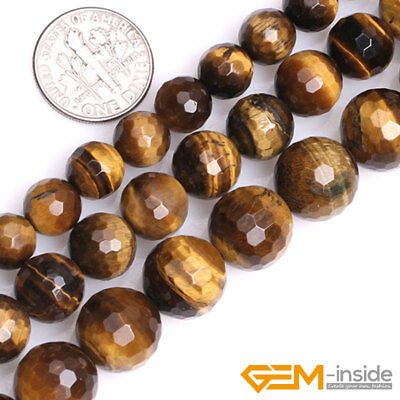"""Natural Gemstone Tiger's Eye Faceted Round Loose Beads For Jewelry Making 15"""" YB"""
