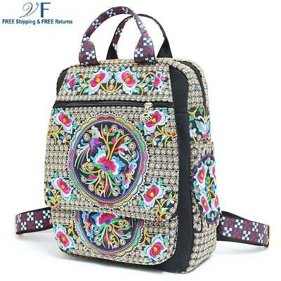 Vintage Embroidered Ethnic Traveling Backpack for Women 15.6 inch slim laptop ba
