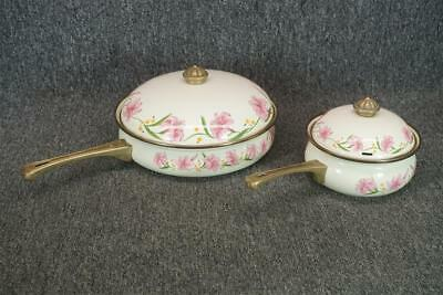 """Normandy Taiwan Stove Top Set Of 2 Pots With Lids Floral Design 6.5"""" & 10.25"""""""