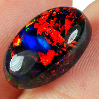 2.8Ct Ethiopian Play Of Color Black Opal Cab Natural USHP1596