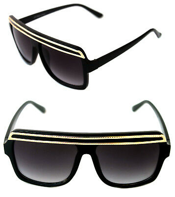 ca903e86563 Flat Top SUNGLASSES HIP HOP VINTAGE Black Gold TOP GRANDMASTER STYLE RETRO  80 s