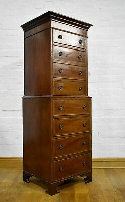 Antique style tall boy / tallboy chest on chest of drawers