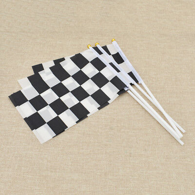 5 Pcs/Lot Black White Chequered Racing Flag Hand Signal Finish Line Banner