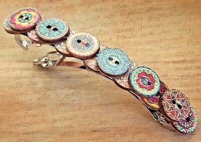 Large French barrette hair clip vintage wooden buttons boho rustic unusual new