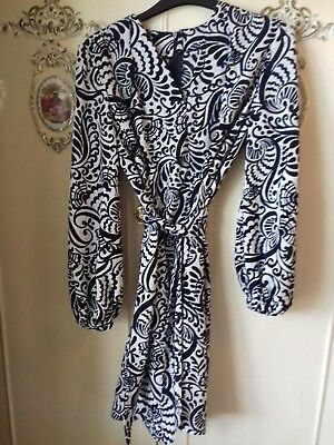 Boho 70s French dress tunic Navy White size 12