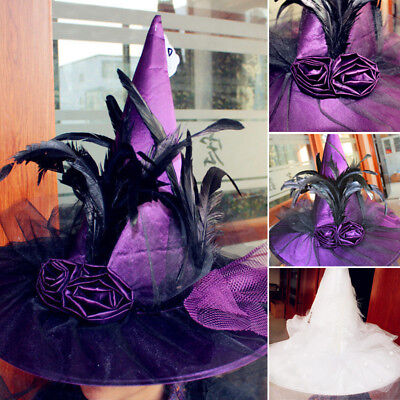 Women Girls Witch Hat Adults Costume Accessory Halloween Fancy Dress Cosplay US