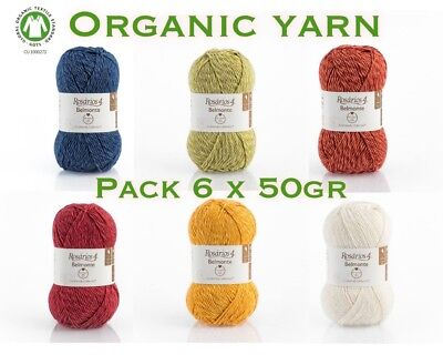 Knitting Yarn Wool + Cotton Pack 6 x 50g / 125m Organic DK Multicolored Yarn