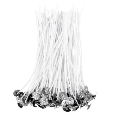 Pack of 100 /15cm Pre Waxed Wicks for Candle Making w/ Sustainers (Candle Wicks)