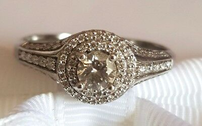 18ct Solid white gold ring with 1.00ct diamond Val $3805 #089