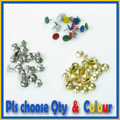 100-400 Drawing Pins,Thumb Tacks , Push,Map ,BRASS ,SILVER ,Assorted Colours