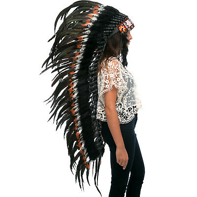 Extra Long Native American Style Headdress - ADJUSTABLE - DOUBLE FEATHER Brown