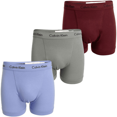 Calvin Klein 100% Authentic Men's Boxer Shorts Trunks - 3 Pack Blue/Grey/Red