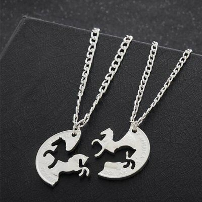 2pcs Animal Puzzle Horse Circle Pendant Necklace Best Friends Friendship Gifts