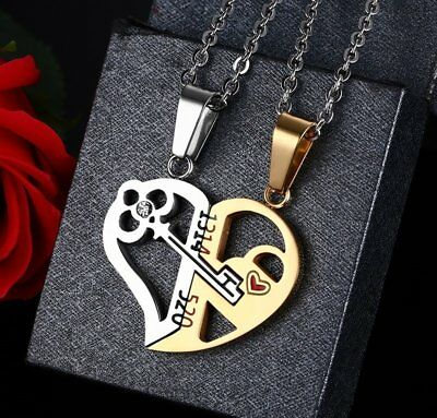 Couple His and Hers Stainless Steel Key Heart Pendant Necklace Valentine's Day