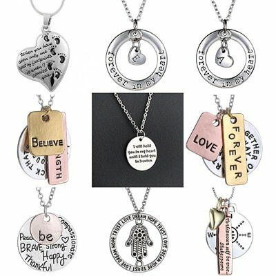 Engraved Womens Vintage Letters Round Pendant Necklace Personalized Jewellery