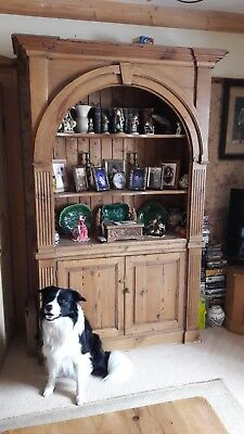 Ornate Antique Pitch Pine Bookcase With Cupboard - Huge & Magnificent