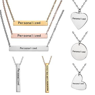 Personalized Engraved Custom Name Letters Stainless Steel Necklace Pendant Gifts
