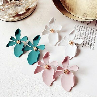 Fashion Wedding Bridal Leather Flower Ear Earrings Stud Womens Jewellery Party