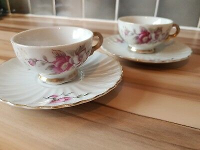 Vintage Pair Of Floral China Cup And Saucer White Pink Flowers Tea Party