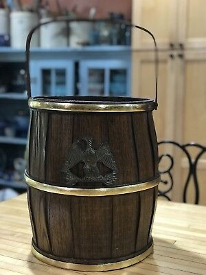 Vintage 0ak Wood Barrel Handled Bucket W/  Eagle Decorative