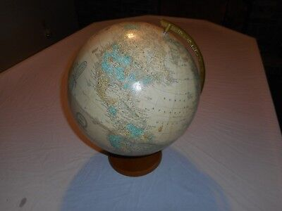 "Vintage Cram's 12"" Imperial World Globe Wood Base Made In The U.S.A."