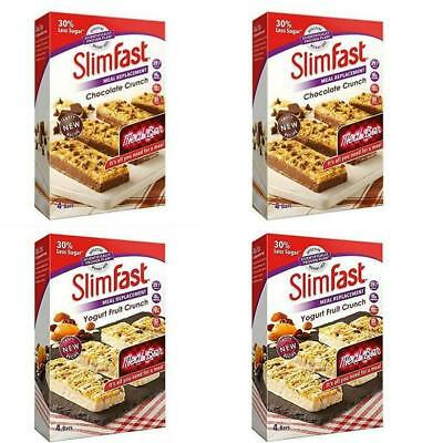 Slimfast Meal Replacement Variety Bars Yoghurt fruit Crunch and Chocolate 4...