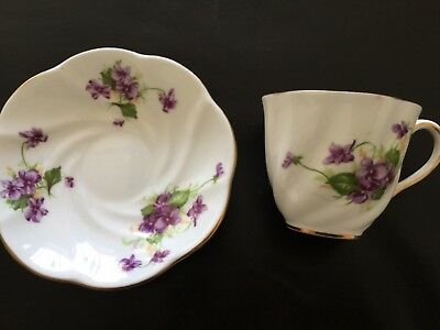 Cup & Saucer England Salisbury Bone China Violets Purple Vintage Gold Trim