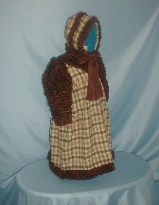 Antique Child's Dress Coat and Hat 1890 Wool and Curly Fur