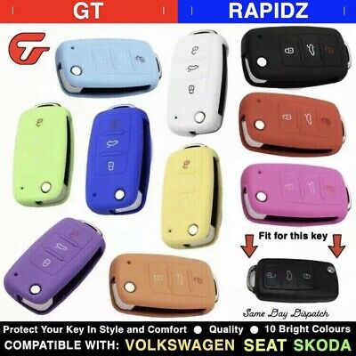 Quality Silicone Car Key Cover Case Shell - VW, Skoda + Seat - MK4, MK5, MK6 etc