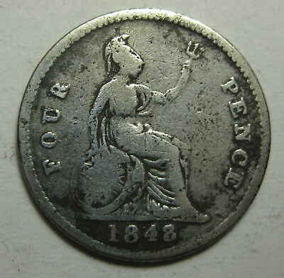 Great Britain 1848 Groat Fourpence SILVER Young Victoria