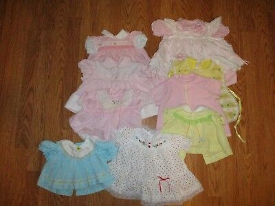 LOT OF 9 VTG INFANT BABY DRESSES most from 60's-80's lots of pink & lots of lace