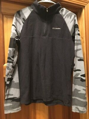 f01e3f6bc4ab0 Columbia Boy's Glacial II Print 1/2 Zip Fleece Pullover Extra Large XL Black