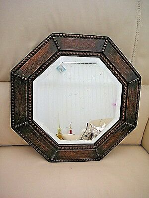 Vintage Octagonal wall mirror with oak beaded frame & bevelled glass