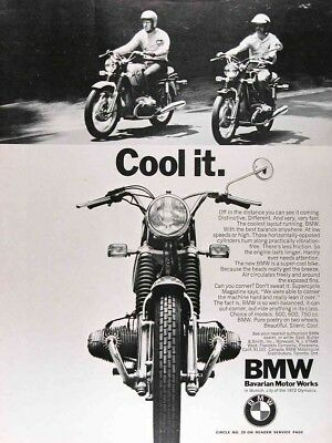 1971 BMW MOTORCYCLES Lot of (2) Authentic Vintage Ads ~ 500 600 750cc
