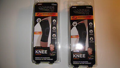 2x Copper Fit Compression Knee Sleeve unisex X-Large Large or XX-Large
