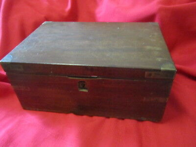 Antique English Brass Bound Campaign Writing Slope Box