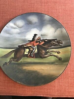 Nippon Molded In Relief Indian On Horse Plaque