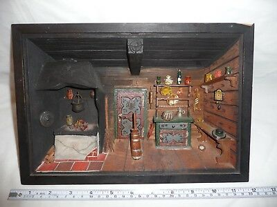 Vintage Wooden Diorama Austria 3D Wall Art Hand Crafted Farm Kitchen Box Picture