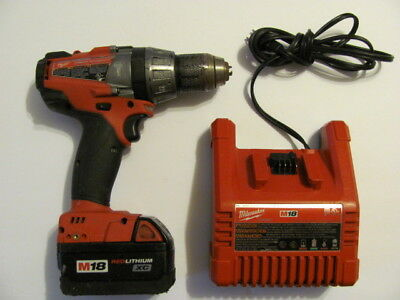 MILWAWKEE 18V HAMMER DRILL/DRIVER 2604 M18, Li-ion, WITH BATTERY AND CHARGER