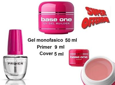 Kit Unghie Gel Monofasico Maxi Formato 50 Ml + Primer  E Cover  Base One Silcare