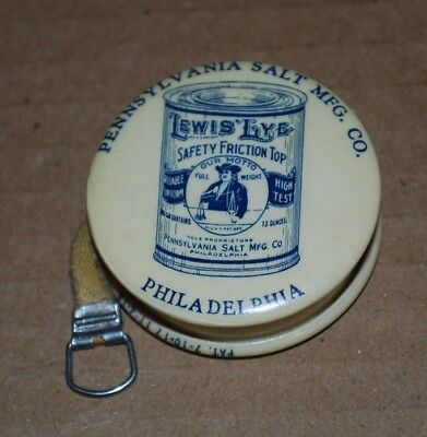 Vintage Lewis Lye  tape measure  Advertising Antique Philadelphia Pa.Salt Mfg.