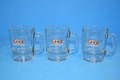 """Vintage Set of 3 Miniature A&W Rootbeer Child's/Kids Mugs! 3"""" tall!"""