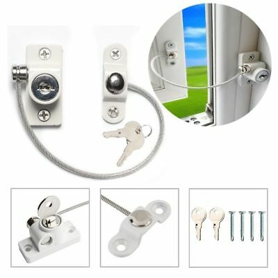 4x Locking Key Alike Window Door Opening Restrictor Cables Child Baby Safety UK