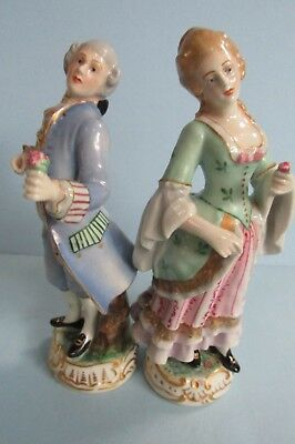 Antique Pair of Capodimonte French Dressed Man & Women Hand Painted