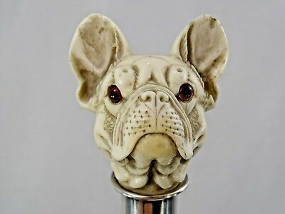 GORGEOUS ANTIQUE WALKING CANE STICK CARVED FRENCH BULLDOG HEAD DOG fine quality