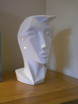 Angular Head Sculpture Art Deco style Vintage 1980s ceramic By Reducta of london