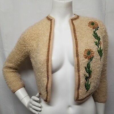 vtg 50s Boucle Knit Cropped Cardigan Sweater Beige/Tan Embroidered Floral XS/S